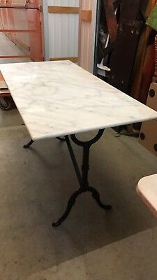 Antique Style Cast Iron Base & Marble Outdoor Indoor Conservatory Table