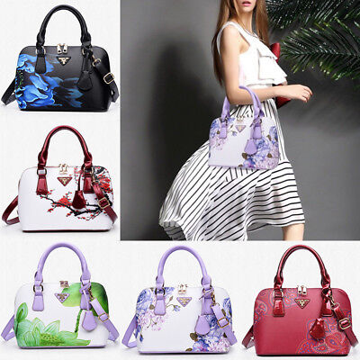 PU Leather Shoulder Bag Women Flower Design Handbag Messenger Bag Satchel Tote