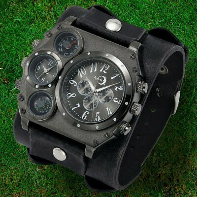 APHOTIC Dual Time Men Gothic Watch Punk Retro Black Wide Cowhide Leather Strap
