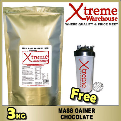 3kg MASS GAINER PROTEIN POWDER - CHOCOLATE - WHEY ISOLATE & CONCENTRATE WEIGHT