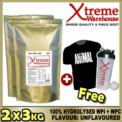 6Kg Hydrolysed Whey Protein Isolate / Concentrate Unflavoured Powder - Wpc / Wpi