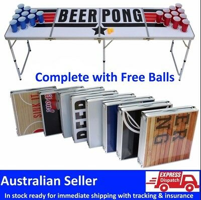 Professional 8ft Beer Pong Table Bucks Hens Bar Party Drinking Game  DESIGN  1