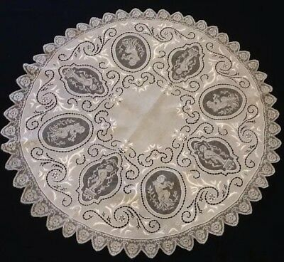 Circular Linen Cloth With Cutwork, Needlepoint, Embroidery And Filet Lace. C1920