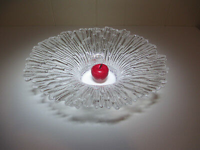 EXQUISITE GLASS Scandinavian Style Large Bowl~Crackled Ice Effect~SUPERB CHIME