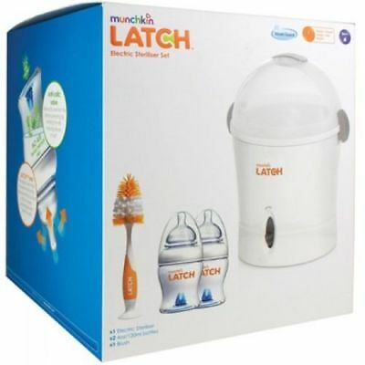 Baby Bottle Electric Steam Steriliser Kit MUNCHKIN LATCH Brush 2 x Bottles BNIB