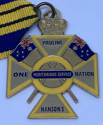 Rare PAULINE HANSONS ONE NATION MERITORIOUS SERVICE MEDAL BADGE