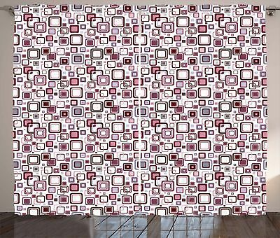 Geometric Curtains Abstract Square Shape Window Drapes 2 Panel Set 108x96 Inches