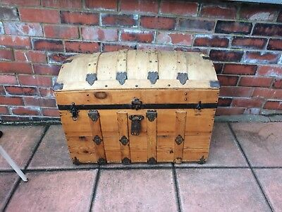 Edwardian Old Pine And Metal Strap Trunk