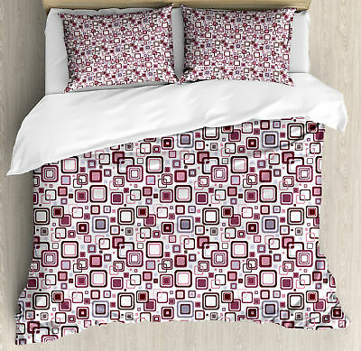 Geometric King Size Duvet Cover Set Abstract Square Shape with 2 Pillow Shams