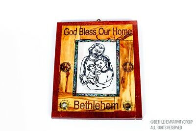 Hand Made Olive Wood&Mother Of Pearl Holy Family plaque From Bethlehem,Holy Land