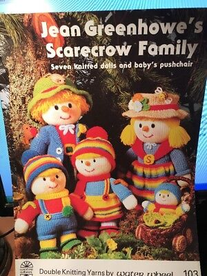 knitting pattern - JEAN GREENHOWE'S SCARECROW FAMILY - 7 knitted dolls