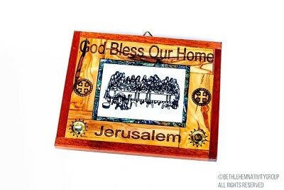 Hand Made Olive Wood&Mother Of Pearl Last Supper Plaque From Bethlehem,Holy Land