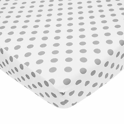 American Baby Company 100% Cotton Percale Fitted Crib Sheet,  White with Gray