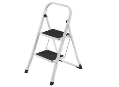 VonHaus Heavy Duty Steel Folding Portable 2 Step Ladder Stool Anti Slip Tread