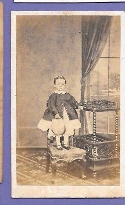 CHILD STOOD ON FURNITURE ORIGINAL VINTAGE OLD CDV PHOTO Bateman of Canterbury FC