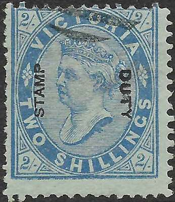 VICTORIA 1885 opted STAMP DUTY on 2/- Blue on Blue ACSC52 cv$150 fine used rare