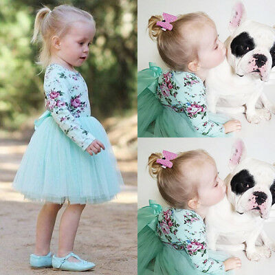 AU Toddler Baby Girls Long Sleeve Floral Party Pageant Tulle Tutu Dress Clothes