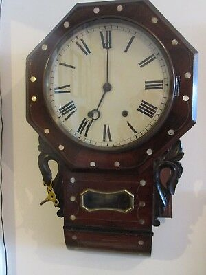 Antique Decorative Inlaid Victorian Wall Clock Tavern/Cottage/Station Clock