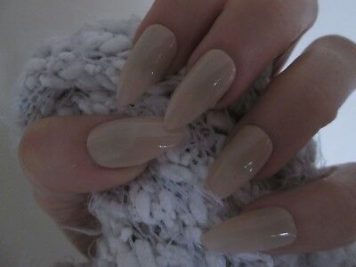 12 nude colour stiletto full cover false nails, extra large for men or women