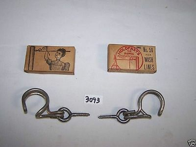 2 Vintage Clothes Line Holders  Rope Ties 1898 HoldFasts Tie Co  Unadilla N. Y.