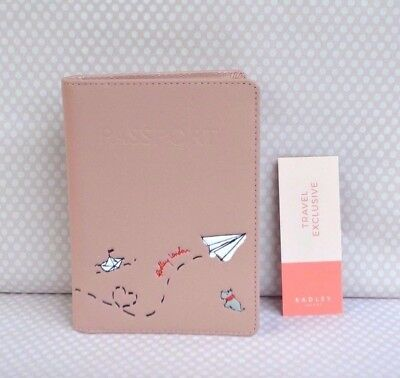 Gift Boxed Radley Paper Trail Pink Leather Passport Holder BNWT RRP£42 Brand New