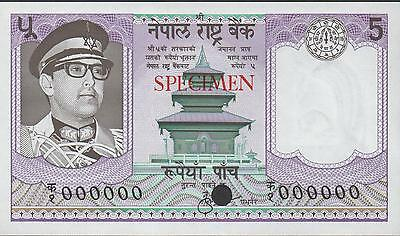 Nepal 5 Rupees , ND. 1974 P 23sct Color Trial Specimen Rare