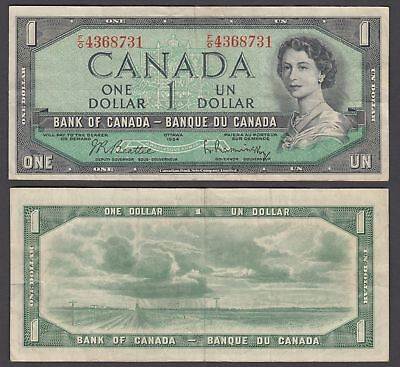 Canada 1 Dollar 1954 (1961-1972?) Banknote (VF) Condition QEII P-74b
