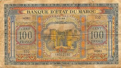 Morocco  100  Francs  1.3.1944  P 27   Series H561   Circulated Banknote ES1217T