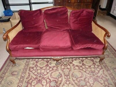 Antique 1930's Bergere suite - sofa and two armchairs
