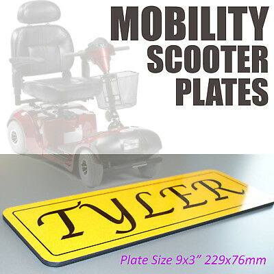 Mobility Scooter Plaque Sign Reflective 9x3 Yellow Shatterproof Acrylic Plate