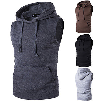Mens Muscle Hoodie Tank Top Bodybuilding Gym Workout Sleeveless Vest T Shirt Tee
