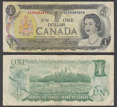 Canada 1 Dollar 1973 (VF) Condition Banknote Lawson-Bouey QEII KM #85 (AAM)