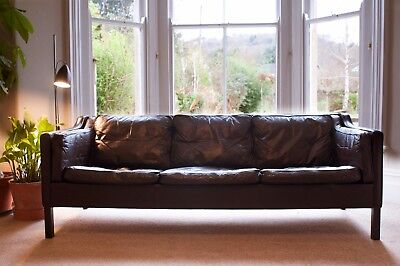 Retro Vintage Danish Leather 3 Seater Sofa 1960s 1970s Scandinavian