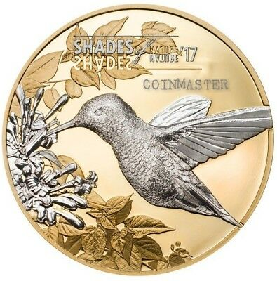 2017 $5 HUMMINGBIRD SHADES OF  NATURE series Silver Coin With GOLD GILDED.
