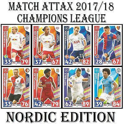 NORDIC EDITION Match Attax 2017/2018 Champions League Football Cards 17/18