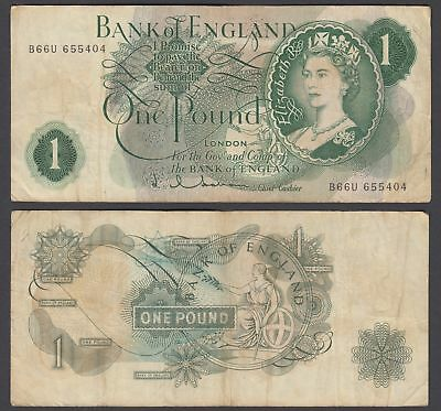 Great Britain 1 Pound 1962-66 (VF) Condition Banknote P-374c QEII