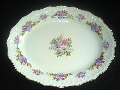 SWINNERTONS LUXOR VELLUM 357606 White/Flower Detail Oval Serving Plate 14 inch