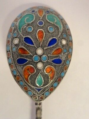 Antique silver cloisonne enamel spoon made in the Russian style. 4.5 inches