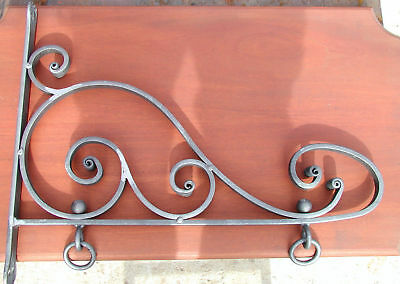 Wrought Iron Nautilus Scroll Sign Bracket, Hand Forged Blacksmiths in U.S.A.