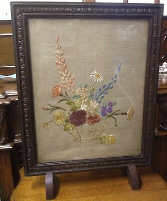 Exquisite HAND SEWN Embroidered Fire Screen / Vintage Sewing Needlework