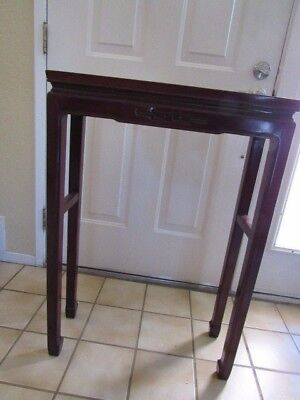 Vintage Chinese kang style tall solid rosewood console table