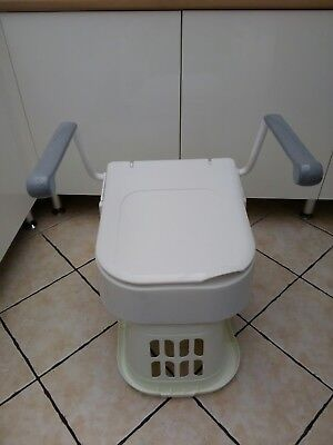 Raised Toilet Seat With Arms Lid Bathroom Safety Rail Frame Mobility Support UK
