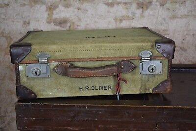 Vintage WW2 1941 travel case leather antique travel stickers Green Canvas Army