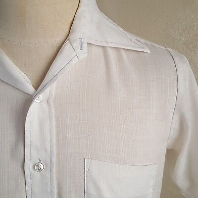 VTG 70s ~ Thin White Short Sleeve Shirt ~ Airy/Beach ~ Big Collar ~ Tapered ~ S
