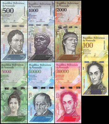 Venezuela 500-100,000 Bolivares X 7 Pieces (PCS) Set, 2016-2017, P-NEW, UNC