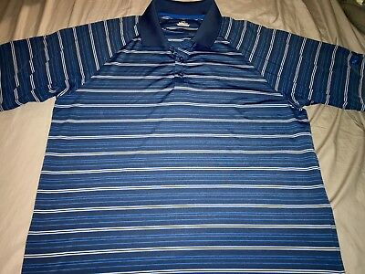 Mens Under Armour Heat Gear Blue Striped Polo Golf Shirt Size XL NICE!!