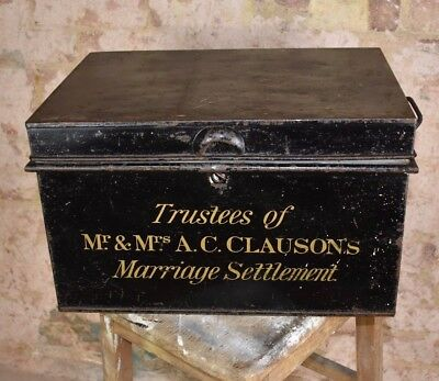 Antique Solicitor Deed Metal Box Cash Tin Jordan London Decorative Prop