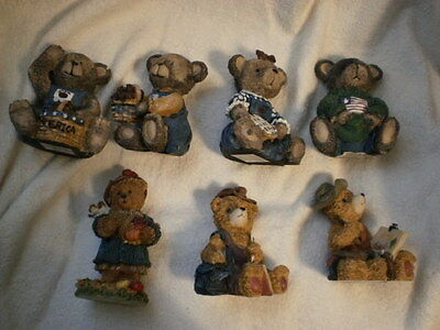 Bear figurine collection 7 in all 4 inches high