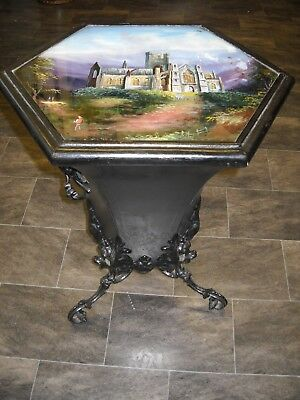Antique Tole Ware Coal Hod - Pontypool Ware ?  Painted Glass Lid Gothic Abbey
