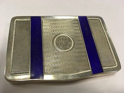 White Gold 14K & Lapis Blue Hallmarked  901 Antique Case  Card Holder 126 Grams